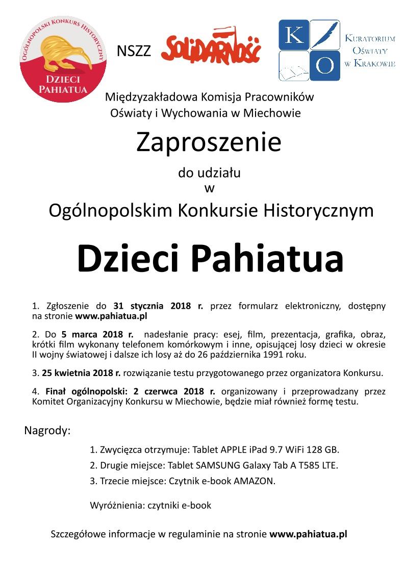 Zaproszenie Na Konkurs Dzieci Pahiatua I Lo Im T